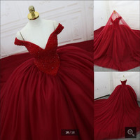 2016 new arrival wine ball gown wedding dress off the shoulder real picture beading sexy wedding dress princess hot sale