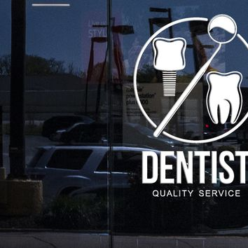 Window Wall Stickers Dentist Service Dental Clinic Poster Stomatology Decor Unique Gift z4565w