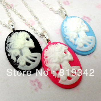 "Free Shipping 6 Strands NKY LARGE SKELETON CAMEO 18"" NECKLACE GOTHIC EMO PUNK SKULL DARK VINTAGE STEAMPUNK"