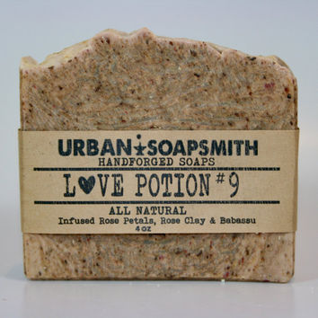 Love Potion #9 Soap - Rose Soap  - Rose Clay Soap - Handmade soap, Cold Process Soap, Goatsmilk Soap, Natural Soap, Babasau Soap