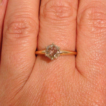 Vintage .20ct Chocolate Diamond Solid 14K Y Gold Solitaire Ring Fine Jewelry