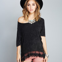 Relaxed Lace-Trim Tee | Wet Seal