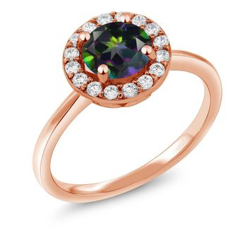 1.50 Ct Round Green Mystic Topaz 18K Rose Gold Plated Silver Ring