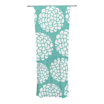 "Pom Graphic Design ""Hydrangea's Blossoms"" Teal Circles Decorative Sheer Curtains"