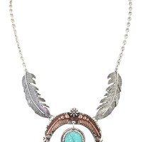 Western Cowgirl Etched Horseshoe with metal Feathers charm fashion Necklace