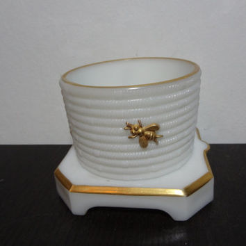 Vintage White Milk Glass Imperial Glass Company Honey Jar without Lid, with Gold Bumble Bees and Trim