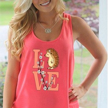 Southern Attitude Preppy Love Hedgehog Coral Tank Top