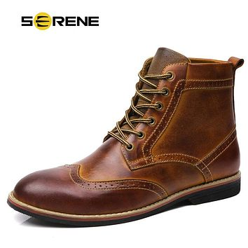 SERENE Brand 2017 Men Boots Men Autumn Winter Boots Size 38~47 Russian style Handmade Warm Plus Size Men Split Ankle Boots