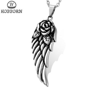 HOBBORN Vintage Rose Angel Wings Pendents & Necklaces Women 316L Stainless Steel Pendent Punk Lover Party Necklace Men Jewelry