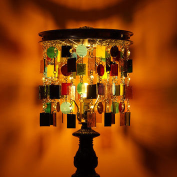 NOLA's Voodoo Stained Art Glass Lamp, Table Lamp, Accent Light (One of a Kind)