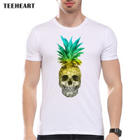 Men's Fashion Pineapple Skull Colors  Design T shirt Cool Tops Short Sleeve Hipster Anime Tees