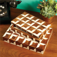 Parquetry Boxes Set of 2