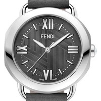 Fendi 'Selleria' Mother-of-Pearl Dial Leather Strap Watch, 36mm | Nordstrom