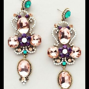 Multi color crystal chandelier earrings