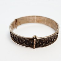 Vintage Kazakh Style Sterling Silver Hinged Bracelet for Large Wrist