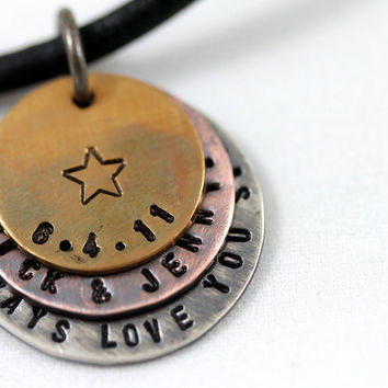 Custom anniversary necklace for men by LustrousElements on Etsy