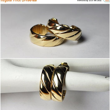 ON SALE Vintage MONET Gold Hoop Clip Earrings, Etched, Diagonal Lines, Chunky, Fab 70's!  #B120
