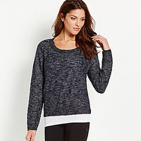 Eileen Fisher Karma Jacquard Boxy Sweater - Denim