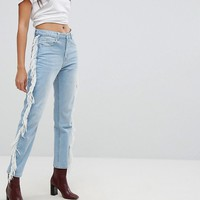 PrettyLittleThing Fray Side Jeans at asos.com