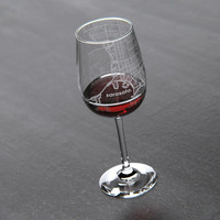 Home Town Maps Stemmed Wine Glass