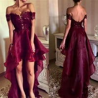 Custom Sexy Short Cocktail Party Dresses 2017 Off The Shoulder Backless Burgundy High Low Prom Homecoming Gowns Cocktail Dress