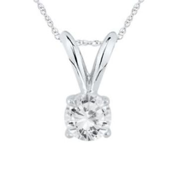 0.25 Carat Certified Round Diamond Solitaire Pendant in 14K White Gold Original