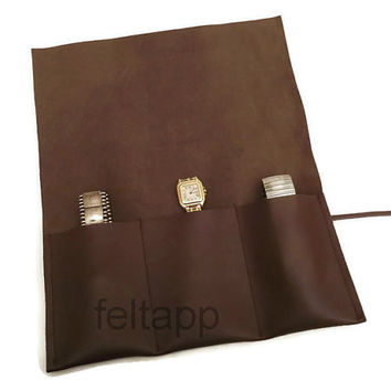 Leather Watch Roll, Watch Pouch, Tool Roll, Roll Pencil Case, 3 Slots,  Italian Brown Nappa Leather, Handmade in Italy by Feltapp.