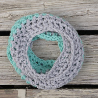 Toddler Infinity Scarf Grey and Ocean