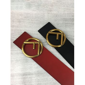 Fendi new simple ring letter men and women smooth buckle belt