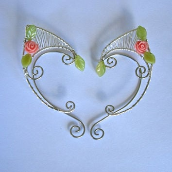 Pair of Silver Woven Wire Elf Ear Cuffs with Pink Resin Roses and Green Leaves Renaissance, Elven Ears, Halloween Costume Earrings