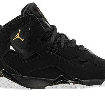 Jordan True Flight Black/Metallic Gold-Black (Little Kid) jordans shoes for girl