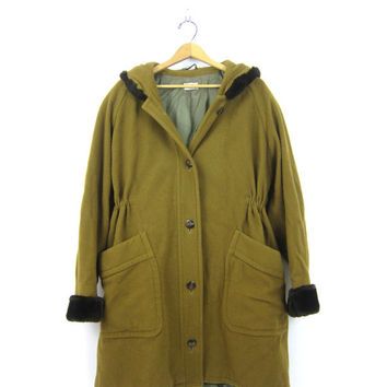 Oversized Olive Green Coat Winter Blanket Coat With Hood 1960s Cocoon Hooded Coat Long Trench Parka Coat Women's Size Large XL