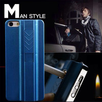 Luxury Aluminium + Plastic Rechargeable Cigarette Lighter Case For Apple iPhone 6 6S Plus 5 5S  Lighting Men Style Back Cover