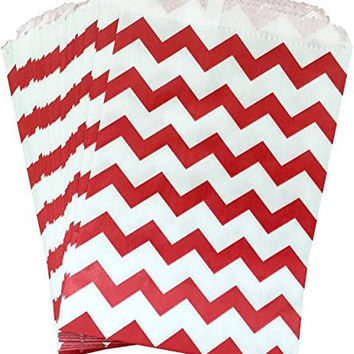 Outside the Box Papers Red and White Chevron Treat Sacks - Favor Bags Made in USA- Christmas Birthday Valentine Carnival Party Pack of 48