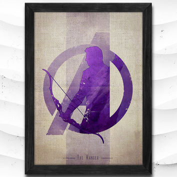 Hawkeye Watercolor Print Avengers Poster Art Print Baby Room Illustrations Room Super Hero Nursery Kids Room Gift Linen Poster CAP73