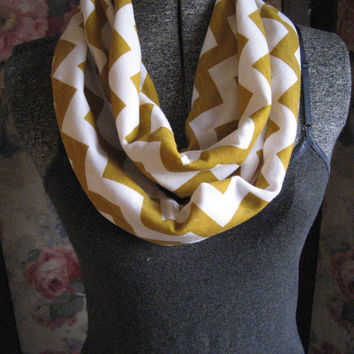 Mustard Yellow Gold Chevron Scarf - on White Jersey Knit Circle Infinity Scarf - ChevronScarf