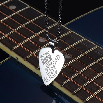 ammoon Electric Guitar Pick Necklace Stainless Steel with 50cm/20in Ball Chain Silver Color Guitar Parts & Accessories