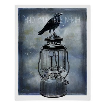True North Crow Sits On Lantern Canvas Art Poster