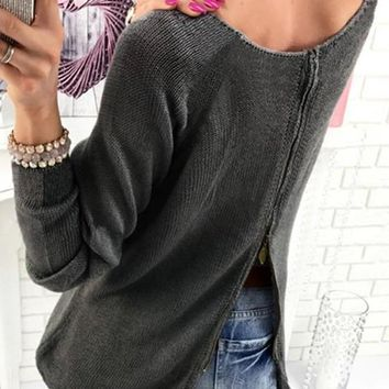 Dark Grey Irregular Zipper Backless Round Neck Long Sleeve Pullover Sweater