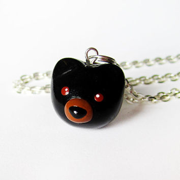 Cute Black Bear Polymer Clay Charm Necklace