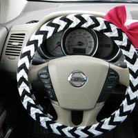 Black and White Chevron Steering Wheel Cover with by BeauFleurs