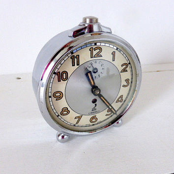 Rare Vintage French Chrome Jaz Mechanical Clock Silentic