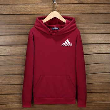 Adidas Women Men Fashion Hooded Top Pullover Sweater Sweatshirt Hoodie Wine red I-YSSA-Z