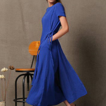 Blue Linen Dress - Casual Cobalt Layered Wrap-Around Short Sleeved Asymmetrical Hemline Womens Dress C537