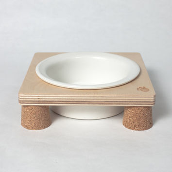 2 x Paw mini, ceramic pet bowl with wooden tray. Best for your little cat n dog.