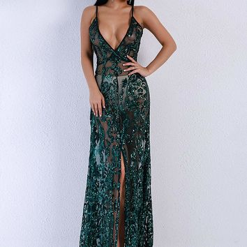 Missord Split Thigh Sequin Mesh Slip Dress Without Panties