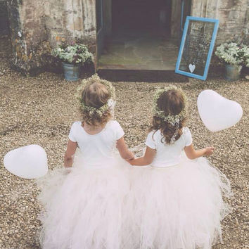 Blush Pink - Flower Girl Tulle Skirt in Light Pink and Ivory - Sewn long length tutu skirt - choose your size and length - valentines day