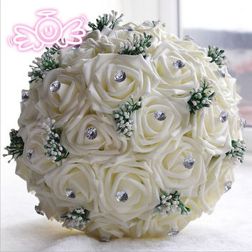 30 Rose simulation flowers bride bouquets Valentines gift wedding bride holding flowers