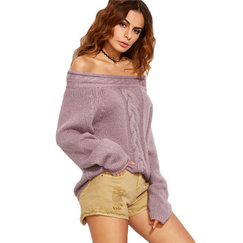 Women Purple Cable Knit Long Sleeve Off The Shoulder Oversized Sweater