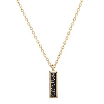 Micro Marble Bar Drop Necklace